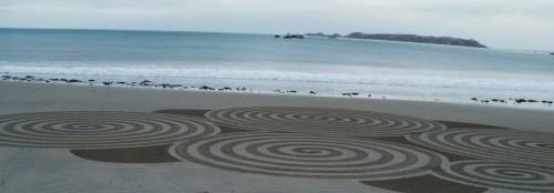 Patelgé, land art, rake art, beach art, dessin sable, art, perros-guirec, trestraou, bretagne, plage, giant sand