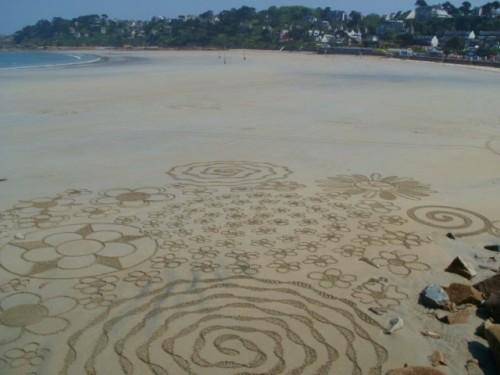 dessin plage,landart,land art,