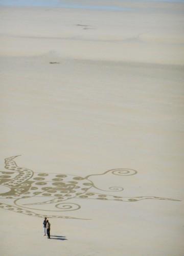 patelgé,land art,beach art,rake art,dessin sur le sable,sand art,sable,plage,art contemporain,art,perros-guirec,trestraou,bretagne,côtes d'armor, voyage en octopodie