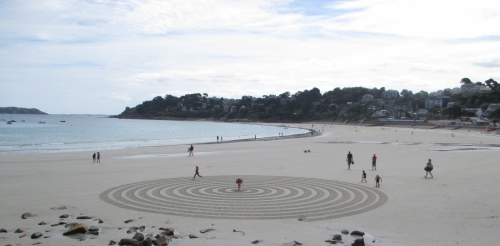 Patelgé, land art, rake art, sand art, dessin sur sable, dessin au rateau, art, art contemporain, perros-guirec, bretagne, côtes d'armor, plage, art à la plage, le dédale des minots