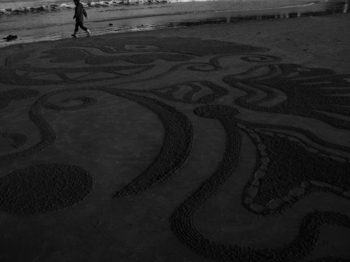 land art,patelge,art,plage,sable,dessin de plage