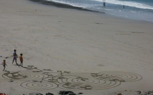 patelgé,perros guirec,landart,rake art,dessin plage