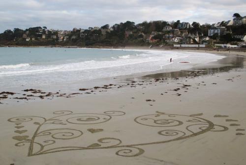 patelgé,land art,rake art,beach art,dessin sur le sable,dessin au rateau,sand art,trestrignel,bretagne,perros-guirec,art contemporain,art,côtes d'armor art, cordiforme