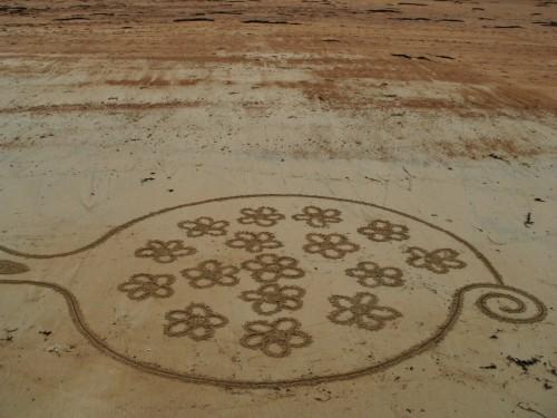festival de l'estran,land art,rake art,rateau sur plage,tregastel,patelgé