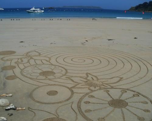 patelge,landart,sable,rake art,granit rose