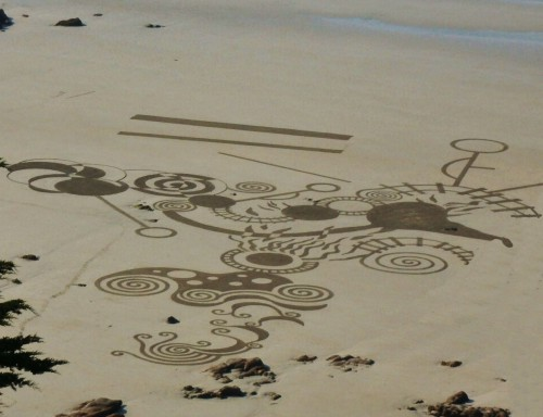 patelgé,tricot,knitting art,perros guirec,landart,rake art,dessin plage