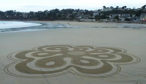 Patelgé, land art, rake art, beach art, dessin sable, art, perros-guirec, trestraou, bretagne, plage, jardin d'hiver, floréale