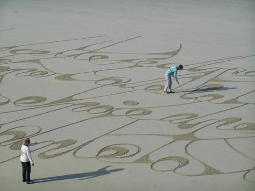 patelgé,land art,rake art,beach art,dessin sur le sable,dessin au rateau,sand art,trestrignel,bretagne,perros-guirec,art contemporain,art,côtes d'armor art, salut à la mer