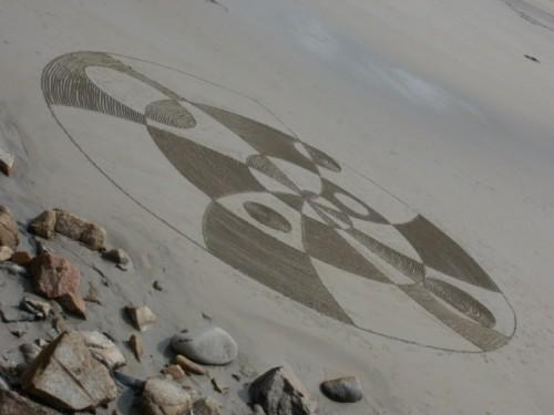 land art,spirale,swirl,rake art,rateau sur plage,perros guirec,trestraou,patelgé