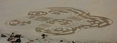 patelgé,granit rose,perros guirec,landart,rake art,dessin plage