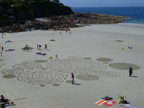 land art,rake art,rateau sur plage,perros guirec,trestignel,patelgé