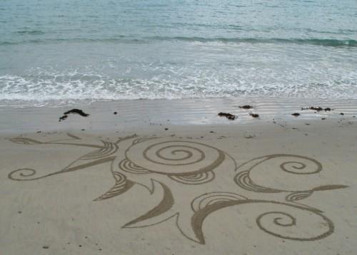 Patelgé, land art, rake art, beach art, dessin sable, art, perros-guirec, trestraou, bretagne, plage