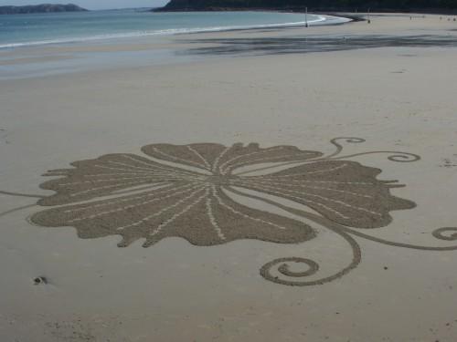 patelgé,perros guirec,land art,landart,beach art,plage art,sable, trestraou, trifolium, trèfle