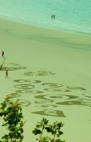 land art,rake art,rateau sur plage,perros guirec,patelgé