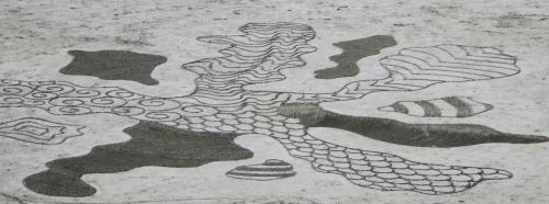 Patelgé, land art, rake art, beach art, dessin sur sable, sand art, dessin au rateau, art, art contemporain, trestraou, bretagne, perros-Guirec, l'île des orchidées