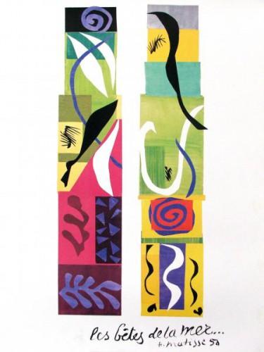 Patelgé, land art, rake art, beach art, dessin sable, art, perros-guirec, trestraou, bretagne, plage, dessins sur le sable, les bêtes de la mer, Matisse
