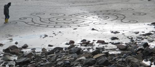 Patelgé, land art, rake art, beach art, dessin au rateau, dessin sur le sable, dessin plage, plage, art contemporain, art, trestraou, perros-guirec, côtes d'armor, bretagne