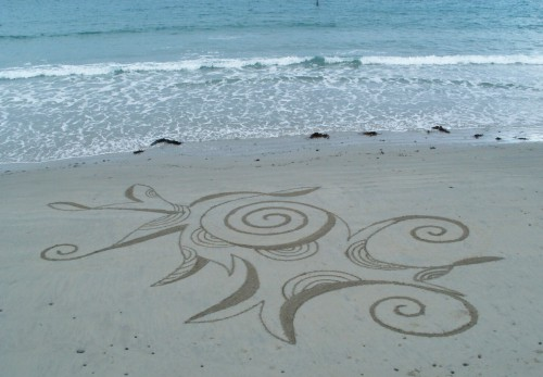 patelgé,land art,plage art,sable, trestraou, rake art, perros-guirec, dessin éphémère
