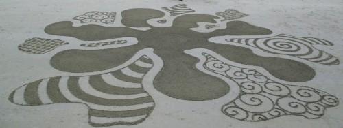 Patelgé, land art, rake art, beach art, dessin sable, art, perros-guirec, trestraou, bretagne, plage, dessins sur le sable, Altérités