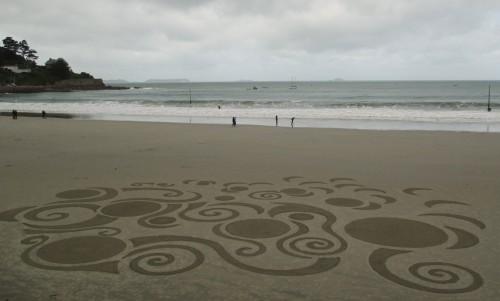 Patelgé, land art, rake art, beach art, dessin sable, art, perros-guirec, trestraou, bretagne, plage, dessins sur le sable, nouvelles contorsions