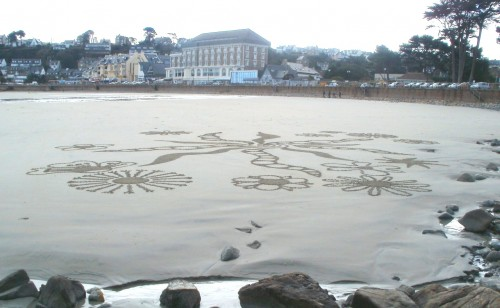 patelge,land art,dessin plage,dessin sable,art de plage
