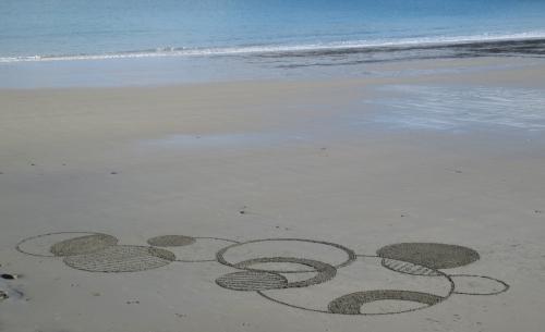 Patelgé, land art, rake art, beach art, sand art, dessin au rateau, dessin sur le sable, sable, plage, art contemporain, art, dessin, perros-guirec, trestraou, bretagne, côtes d'armor, Nemo